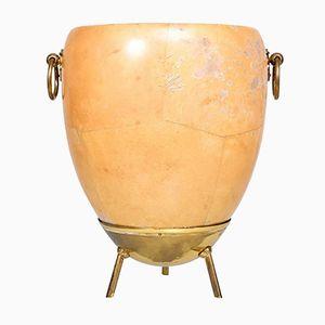 Ice or Champagne Bucket in Goatskin & Brass by Aldo Tura, 1950s