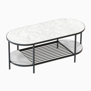 Table Basse TOUCHÉ Noire avec Plateau en Marbre Blanc par Alex Baser pour MIIST