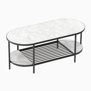 TOUCHÉ Coffee Table in Black with White Marble Top by Alex Baser for MIIST