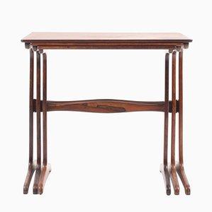 Tavolini ad incastro in palissandro di Ole Wanscher per A.J. Iversen, Danimarca, anni '50, set di 3