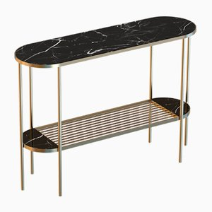 TOUCHÉ Brass-Plated Console Table with Black Marble Top by Alex Baser for MIIST