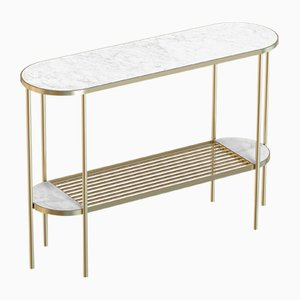 TOUCHÉ Brass-Plated Console Table with White Marble Top by Alex Baser for MIIST