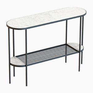 Schwarzer TOUCHÉ Konsolentisch mit weißer Tischplatte aus Marmor von Alex Baser für MIIST