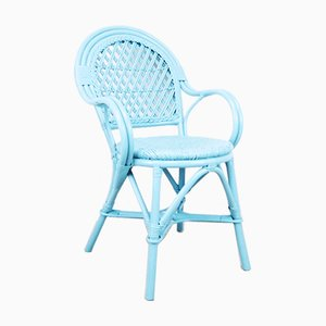 Vintage Swedish Blue Wicker Rattan Armchair
