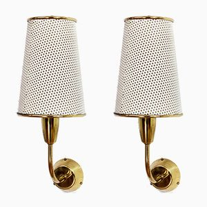 Vintage Perforated Metal Wall Sconces, Set of 2
