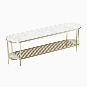 TOUCHÉ Brass-Plated Media Console with White Marble Top by Alex Baser for MIIST