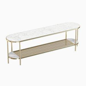 Vermessingte TOUCHÉ Medienkonsole mit weißer Tischplatte aus Marmor von Alex Baser für MIIST