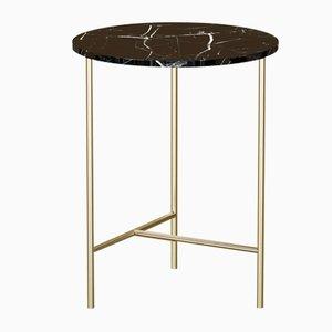 Table Basse MIDT en Plaqué Laiton avec Plateau en Marbre Noir par Alex Baser pour MIIST