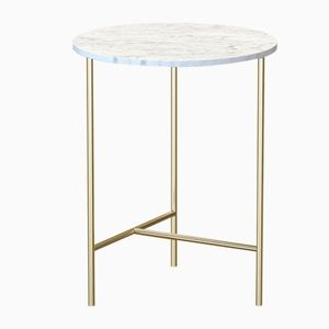 MIDT Brass-Plated Coffee Table with White Marble Top by Alex Baser for MIIST