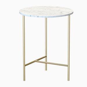 Table Basse MIDT en Plaqué Laiton avec Plateau en Marbre Blanc par Alex Baser pour MIIST