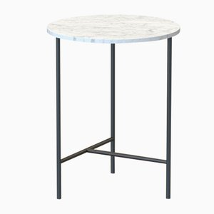 MIDT Side Table in Black with White Marble Top by Alex Baser for MIIST