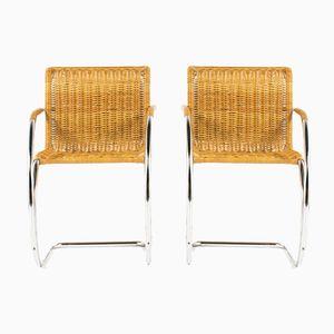 MR20 Armlehnstühle von Ludwig Mies van der Rohe für Knoll International, 1980er, 2er Set