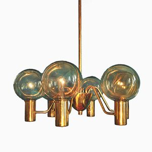 Model T372 Brass 6-Armed Chandelier by Hans-Agne Jakobsson for Hans-Agne Jakobsson AB Markaryd, 1950s