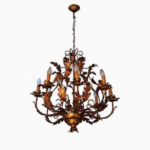 Large Gilt Tole Chandelier with Eight Lights, 1960s