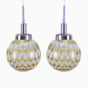 Lampade a sospensione vintage in vetro di Murano, set di 2