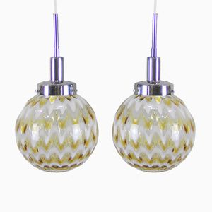 Vintage Murano Glass Pendant Lamps, Set of 2