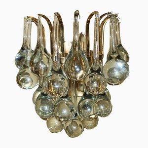 Apliques vintage de latón dorado y gotitas de vidrio de Christoph Palme. Juego de 2