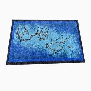 Blauer Paul Klee Vintage Fischbild Teppich von Ege Artline aus reiner Schurwolle, 1986