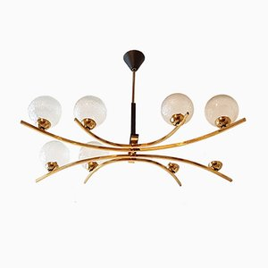 French Brass & Glass Globe Chandelier, 1950s