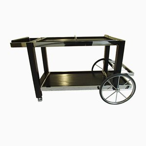 Large Vintage Chrome & Black Oak Serving Cart