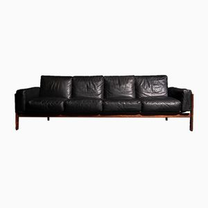 Four-Seater Sofa in Rosewood & Black Leather by Sven Ivar Dysthe for Dokka, 1960s