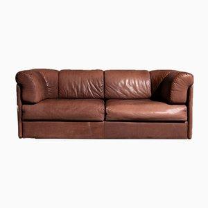 Vintage 2-Sitzer Sofa aus geschliffenem Leder in Braun, 1970er
