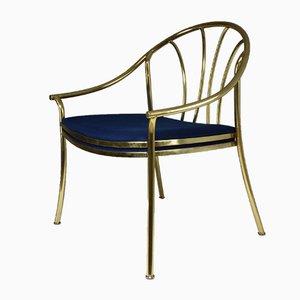 Französischer Vintage Armlehnstuhl aus Messing