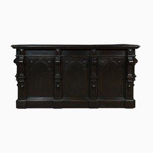 Bancone da negozio antico con cassetto del registratore di cassa