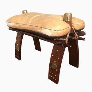 Taburete o otomana con sillín de cuero, años 60