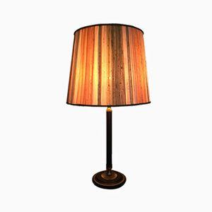 Lámpara de mesa vintage de cuero y latón