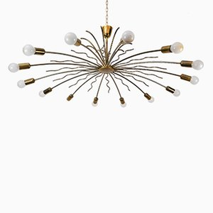 Large 14-Arm Brass Chandelier, 1950s