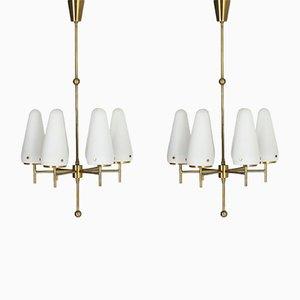 Lámparas de araña Mid-Century de vidrio opalino de Hans-Agne Jakobsson para Hans-Agne Jakobsson AB Markaryd. Juego de 2