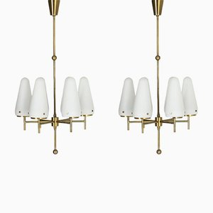 Mid-Century Opaline Glass Chandeliers by Hans-Agne Jakobsson for Hans-Agne Jakobsson AB Markaryd, Set of 2