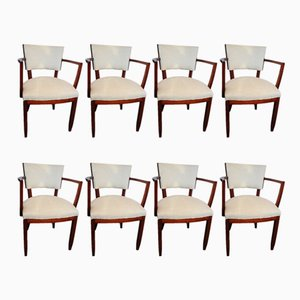 Art Deco Indian Rosewood Chairs, 1930s, Set of 8