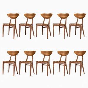 Esszimmerstühle aus Teak von Richard Jensen und Kjærulff Rasmussen, 1950er, 10er Set