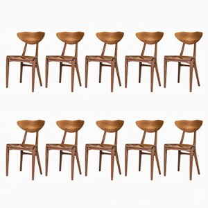 Teak Dining Chairs by Richard Jensen and Kjærulff Rasmussen, 1950s, Set of 10
