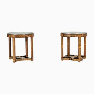 Swedish Grace Pewter & Wood Side Tables from Ystad Tenn, Set of 2