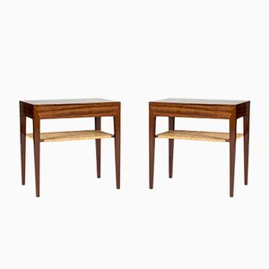 Mahogany & Rattan Side Tables by Severin Hansen for Haslev Møbelsnedkeri, 1960s, Set of 2