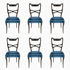 Midnight Blue Velvet Dining Chairs, 1950s, Set of 6