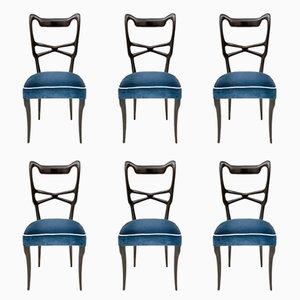 Mitternachtsblaue Esszimmerstühle mit Samtbezug, 1950er, 6er Set