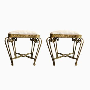 Italian Gold-Leaf Stools by Pier Luigi Colli, 1950s, Set of 2