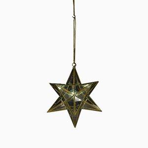 Italienische Vintage Deckenlampe aus Messing in Sternen-Optik