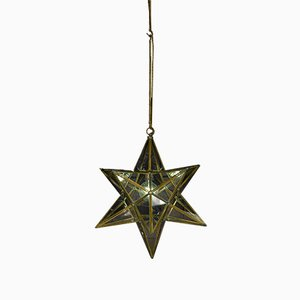 Vintage Italian Brass Star Ceiling Light