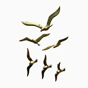 Mid-Century Brass Seagulls Wall Decoration from Superbrass, 1960s, Set of 6