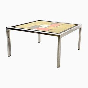 Table d'Appoint Mid-Century avec Design Abstrait en Céramique et Cadre en Chrome, 1970s
