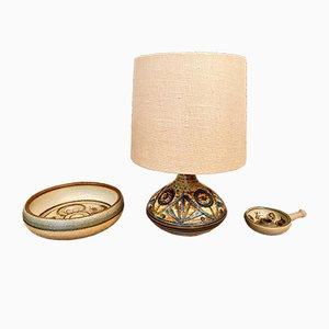 Juego de cuenco danés vintage de cerámica, lámpara y candelabro de Noomi Backhausen para Søholm
