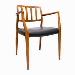 Modell 66 Armlehnstuhl aus Teak & Leder von Niels O. Møller für J.L. Møllers, 1960er