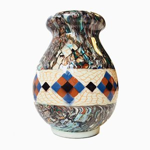 French Micro Mosaic Ceramic Vase by Jean Gerbino for Vallauris, 1940s