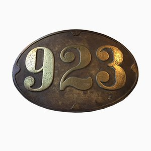 Antique Bronze Train Sign, 1910s