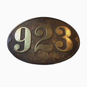 Señal de tren antigua de bronce, años 10